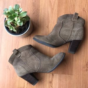 Clarks Suede Booties - Taupe